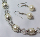SFW003 - Cream shell pearls, fresh water pearls and crystal roundels jewellery set